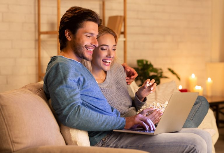 Couple playing online games